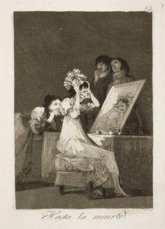 """Francisco de Goya: """"Hasta la muerte"""". Serie """"Los caprichos"""" [55]. Etching, aquatint and drypoint on paper, 215 x 152 mm, 1797-99. Museo Nacional del Prado, Madrid, Spain"""