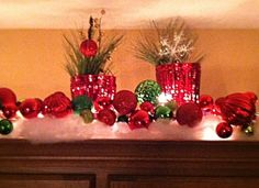 Christmas decor above cabinets