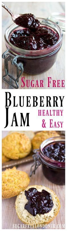 Here's a staple for your fridge: sugar free blueberry jam! Spread on low car… Here's a staple for your fridge: sugar free blueberry jam! Spread on low carb bread or use it as a fruity sauce with yoghurt, pancakes or waffles. Diabetic Desserts, Sugar Free Desserts, Sugar Free Recipes, Diabetic Recipes, Low Carb Recipes, Dessert Recipes, Drink Recipes, Low Carb Sweets, Low Carb Desserts