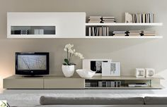 Obývací stěna Donatela v provedení Bílá HG / Světlé capucino HG Living Room Built Ins, Ikea Living Room, Wall Unit Designs, Modern Tv Wall Units, Tv In Bedroom, Inspiration Design, House Rooms, Apartment Living, Interior Design Living Room