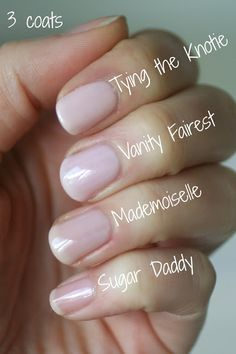 Essie Sheer Pink Comparison : Mademoiselle, Vanity Fairest, Sugar Daddy & Tying the Knotie | Essie Envy