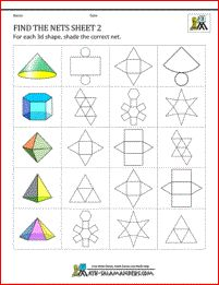 Geometric nets worksheets - Find the nets sheet 2. Identify correct net for a 3d shape