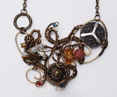 Medusa The Greek Goddess Wire Wrap Assemblage Button Gemstones Necklace #Handmade #Pendant
