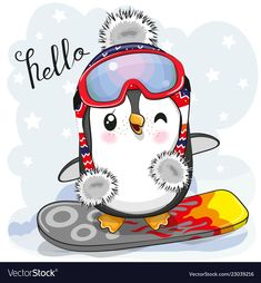 Illustration about Cute cartoon Penguin on a snowboard on a blue background. Illustration of cute, knit, penguin - 132744654 Cute Cartoon Girl, Owl Cartoon, Christmas Drawing, Christmas Art, Pinguin Drawing, Disney Cartoon Characters, Penguin Art, Cute Penguins, How To Draw Penguins