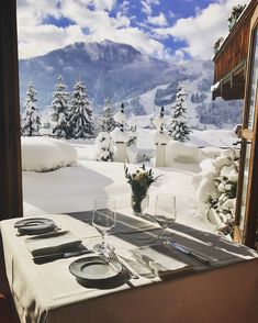 Time for lunch with a view ❄️ Restaurant, Spa, Tapestry, Exterior, Lunch, Mountains, Luxury, Food, Home Decor