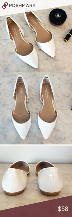 Carvela d'orsay flats Brand new without tags, unworn. White d'orsay flats, vegan leather upper. European size 37. A great essential for any outfit. No trades. Carvela Shoes Flats & Loafers