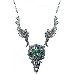 Shop here for this large winged birds skull necklace by Alchemy Gothic, with gigantic chrysolite-green Swarovski crystal.