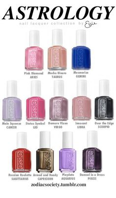 Astrology Nail Lacquer Collection by Essie - Zodiac Society I'm innocent Zodiac Signs Astrology, Zodiac Star Signs, Zodiac Society, Sally Hansen Color Therapy, Zodiac Clothes, Zodiac Sign Fashion, Sagittarius And Capricorn, Pisces Zodiac, Nail Colors
