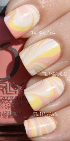 Nubar hite Peony, marbled with Orly Cotton Candy, Orly Lemonade, Nubar Kiwi, Orly Prelude To a Kiss, Orly You're Blushing and Nubar White Peony.