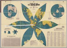 Cram's Air Age U.S. Centric World Gingery Projection, 1943, George F. Cram Company.  Printed paper mounted on linen with measuring tape. Private collection.  Credit:  David Rumsey Map Collection