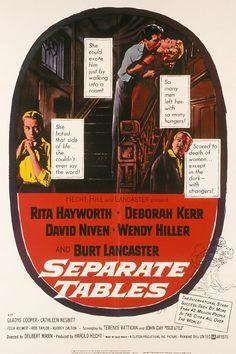 Separate Tables - 1958  David Niven, Rita Hayworth, Deborah Kerr, Wendy Hiller & Burt Lancaster  Niven won Academy Awards & Hiller won Best Supporting Actor,