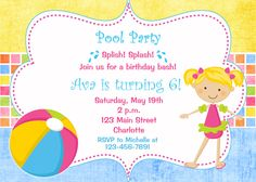 Pool party birthday invitation -- pool party - pool toys - swimming party - girl swimmer. $10.00, via Etsy.