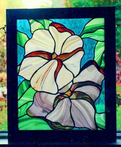 """Barbara Pearsall-Davis - Stained Glass Panel (made with Spectrum """"Baroque"""" and Spectrum """"Waterglass"""")."""