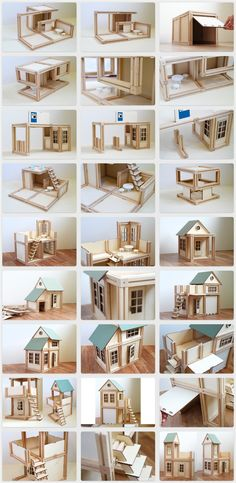 Wooden, magnetic, architectural toy - a building block set for boys, girls and fun loving adults. Family-friendly activity for everyone Vitrine Miniature, Miniature Houses, Miniature Dolls, Barbie House, Tipi, Popsicle Stick Houses, Popsicle Stick Crafts, Craft Stick Crafts, Doll Furniture