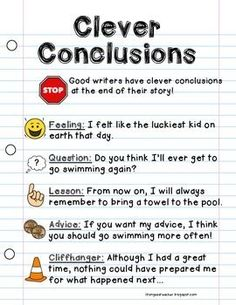 WRITING WORKSHOP ANCHOR CHART {CLEVER CONCLUSIONS} - http://TeachersPayTeachers.com