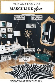 Use this guide to learn my tips on how to decorate your home to achieve the look of modern masculine glam. Home Office Design, Home Office Decor, Modern House Design, Home Decor Bedroom, Modern Interior Design, Diy Home Decor, Bedroom Modern, Office Decorations, Simple Interior