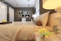 Phòng ngủ Master được dùng Sàn Gỗ và giấy dán tường kẻ nhỏ màu tối , đã tạo hiệu quả tương phản cho Tủ âm tương , giường ngủ , bàn trang điểm , sofa đơn và cả bộ Chăn ga màu trắng sáng . Thiết kế nội thất Avalo nghĩ rằng nó sẽ tạo nên 1 vẻ đẹp thuần khiết nhẹ nhàng cho phòng ngủ của gia chủ .