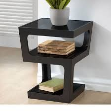 WholeSale Interiors Baxton Studio Clara Black Modern End Table with Glass Shelves Black End Tables, Glass Top End Tables, Sofa End Tables, End Tables With Storage, Glass Top Coffee Table, Contemporary End Tables, Modern End Tables, Contemporary Style, Tempered Glass Shelves