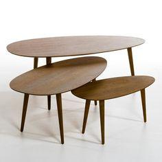 Table basse Flashback laqué et hévéa, petit et moyen modèle