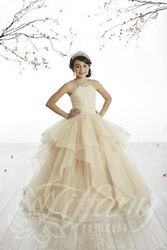 This Tiffany Girls Pageant Dress speaks for itself! It features a beaded halter neckline. Pleated bodice with sparkle tulle underlay. Gathered ruffle skirt with sparkle tulle and horsehair edges. Lace up corset back.