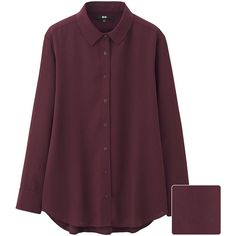UNIQLO Women Rayon Long Sleeve Blouse (1.865 RUB) ❤ liked on Polyvore featuring tops, blouses, loose tops, long sleeve drape top, purple top, rayon blouse and purple blouse