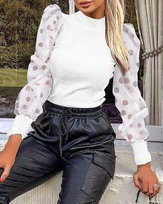 Mock Neck Polka Dot Puff Sleeve Mesh Insert Ribbed Blouse Women's Online Shopping Offering Huge Discounts on Dresses, Lingerie , Jumpsuits , Swimwear, Tops and More. Casual Sweaters, Sweaters For Women, Winter Sweaters, Cozy Sweaters, Mode Hijab, Edgy Style, Cropped Sweater, Corsage, Pattern Fashion