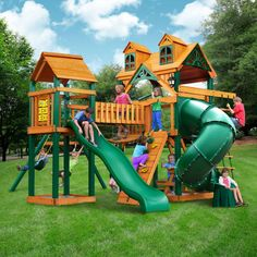 Gorilla Playsets Wilderness Gym Playset - Do It Yourself or Installed x Solid Wood Framing Tongue & Groove Wood Roof Featuring Dormers And a Sunburst Alpine Wave Slide, Extreme Tube Slide Clatter Bridge And Tower w/Net 2 Swing Belts, Trapeze Bar & Backyard Swing Sets, Backyard Playset, Backyard Playground, Backyard For Kids, Outdoor Playset, Playground Ideas, Backyard Trampoline, Build A Playhouse, Girls Playhouse