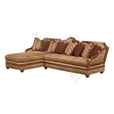 Cherry Beige 2 Pc Chaise Wood Exposed Sectional Sofa   $4,880.00 : Mallery  Hall, Fine High End Furniture, Tall Headboards, Distressed Leather, ...