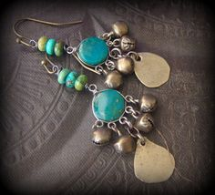 Chrysocolla, Silver Fringe, Gypsy, Vintage, Beaded Earrings by YuccaBloom on Etsy
