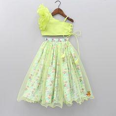 Green One Shoulder Top And Minnie Print Lehenga Baby Girl Dress Design, Girls Frock Design, Kids Frocks Design, Baby Frocks Designs, Kids Lehanga Design, Kids Party Wear Dresses, Kids Dress Wear, Kids Gown, Little Girl Dresses