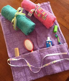 for scout camps? - Dollar store hand towel, scrap ribbon, a little thread and voila! -- a toiletry travel kit.Here's another great space saver & fun compartment for your hygiene items! Diy And Crafts Sewing, Crafts To Sell, Sewing Projects, Craft Projects, Diy Crafts, Sewing Diy, Operation Christmas Child, Kids Christmas, Christmas Gifts