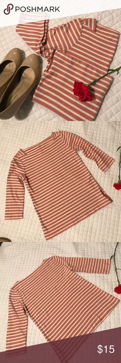 Ann Taylor LOFT Coral & White Striped Shirt Used but still in pretty good condition with no stains, holes or rips! Pretty coral stripes! Machine wash and dry. All of my items come from a clean, smoke-free home! Check my closet for more items and save when you bundle! Please let me know if you have any questions! LOFT Tops