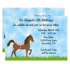 Free printable horse party invites horse party invitations cute brown horse pony rides girls birthday invite yadclub Choice Image
