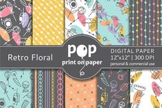 Retro Floral - 10 digital papers by POP print on paper on @creativemarket