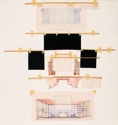 Projeto de cenário Elementos cênicos para maquete Hidrográfica e lápis sobrerecortes de papel milimetrado colados sobre papel cartão