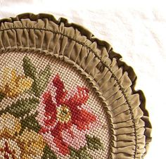 Antique pillow needlepoint and velvet made in Germany 1900s to 1940s down filled