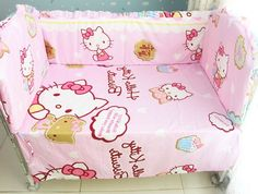 41.20$  Buy now - http://ali4z0.worldwells.pw/go.php?t=32334600445 - Promotion! 6PCS Hello Kitty baby bed cradle bed bedding bed around bed sheets (bumpers+sheet+pillow cover)