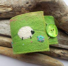 Felt Wrist Cuff Bracelet with Sheep by AileenClarkeCrafts on Etsy