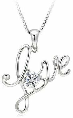 "Rhodium Plated 925 Sterling Silver Cubic Zirconia Classic Love Pendant Necklace for Women Including Italian Sterling Silver Box Chain 18"" SS221 *** VALENTINES DAY SPECIAL DEAL *** Arco Iris Jewelry. Save 71 Off!. $28.95. Money-back Satisfaction Guarantee. Come with a FREE $25 Retail Value Box Chain, Very Good Quality. Delicate, light weighted, yet strong and durable! Perfect for a fine pendant.D. FREE gift box included.Great for any occasion.. Chain length - 18"", Chain width - 0.8M..."