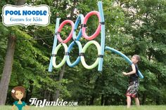 Create a fun outdoor game for kids like this javelin throw game out of pool noodles! First you make the rings and then use duct tape to secure together. You can hang them from trees as a Javelin throw or lay on the ground as an agility course. Activities For Adults, Outdoor Activities For Kids, Party Activities, Summer Activities, Group Activities, Physical Activities, Vbs Outdoor Games, Outdoor Parties, Outdoor Fun