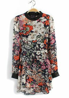 I really like this dress --- Pink Floral Print Zipper Long Sleeve Chiffon Dress