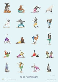 · Yoga animal best selling poster painted in water color, inch or cm printed on fine textured paper. Check out the Yoga class that this quirky gang of animals is taking. The Cat is so… Kids Yoga Poses, Yoga For Kids, Yoga Art, My Yoga, Pintura Yoga, Formation Yoga, Yoga Drawing, Animal Yoga, Yoga Illustration