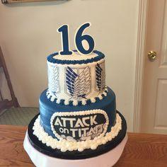 16 Birthday Cake, Happy Birthday Flower, 14th Birthday, Sweet 16 Birthday, Beautiful Cakes, Amazing Cakes, Attack On Titan, Barbie Em Paris, Anime Cake