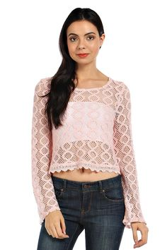 CROPPED HONEYCOMB LACE CROCHET TOP- Baby Pink