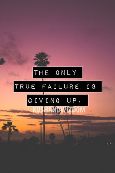 the only true failure is giving up