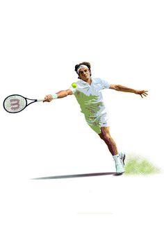 Roger Federer illustration print