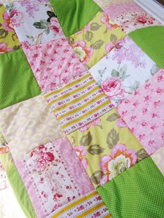 """Quilt patchwork bed cover bedding single blanket lap throw flowers roses dots light pink olive grass green yellow orange 57"""" x  87"""" gift by poppyshome on Etsy"""