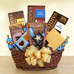 Godiva Executive Style! When you need to make a big impression, send the very best of the best from Godiva. This sophisticated gift boasts a delectable variety of Godiva favorites. To be enjoyed and savored morning, noon or evening, this lavish gift basket features robustly flavorful Godiva premium roast coffee for a fabulous start. $79.99 #giftbasket #corporategifts