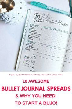 Mental Health Bullet Journal Spread. Do you love Bullet Journals? This post has 10 awesome bullet journal spreads for you to copy + a free printable bullet journal weekly layout on dot paper. #bujo #bulletjournal #printable #freeprintable #planner
