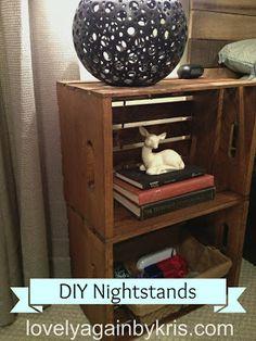 DIY nightstands from crates